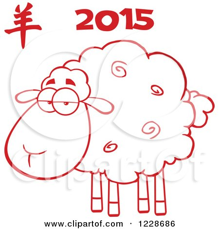 Clipart of a Red Annoyed Sheep Under 2015 - Royalty Free Vector Illustration by Hit Toon