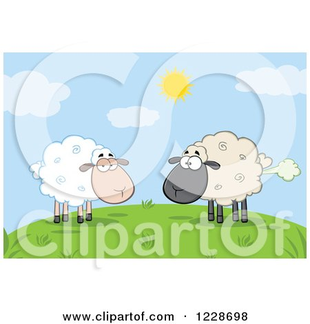 Clipart of an Ewe Watching Another Flatulent Sheep Farting on a Hill - Royalty Free Vector Illustration by Hit Toon