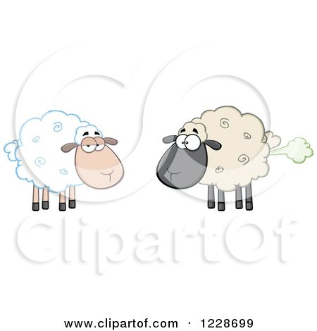 Clipart of an Ewe Watching Another Flatulent Sheep Farting - Royalty Free Vector Illustration by Hit Toon