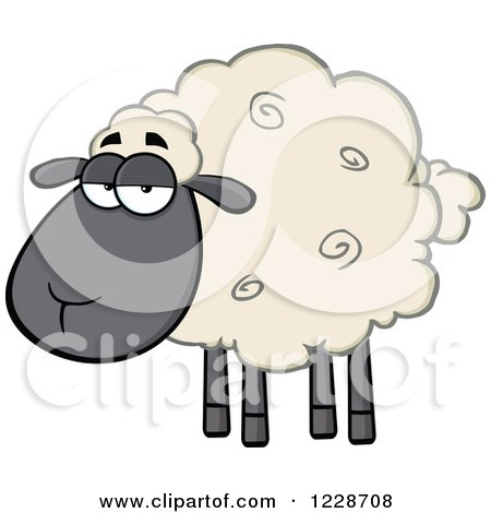 Clipart of an Annoyed Black and Tan Sheep - Royalty Free Vector Illustration by Hit Toon