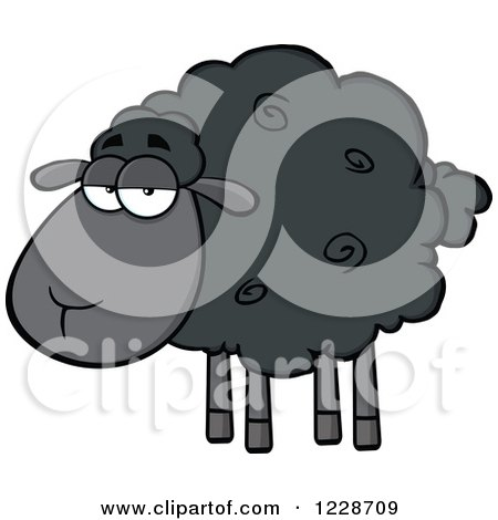 Clipart of an Annoyed Black Sheep - Royalty Free Vector Illustration by Hit Toon
