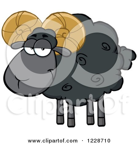 Clipart of a Black Ram Sheep - Royalty Free Vector Illustration by Hit Toon