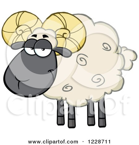 Clipart of a Black and Tan Ram Sheep - Royalty Free Vector Illustration by Hit Toon