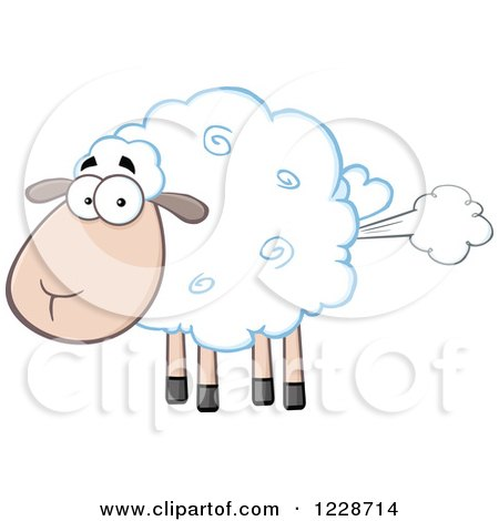 Clipart of a Flatulent Sheep Farting - Royalty Free Vector Illustration by Hit Toon