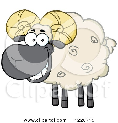 Clipart of a Happy Black and Tan Ram Sheep - Royalty Free Vector Illustration by Hit Toon