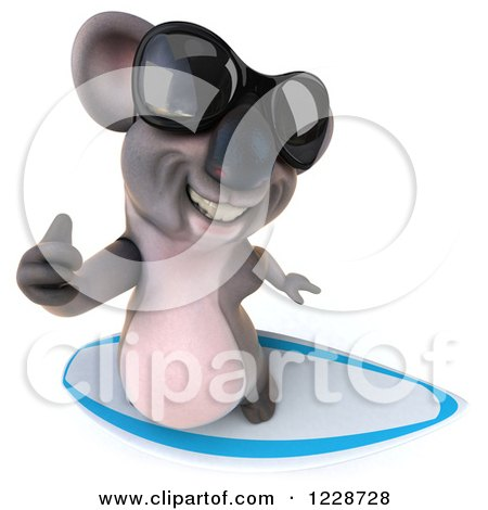 Clipart of a 3d Surfing Koala Mascot Wearing Sunglasses - Royalty Free Illustration by Julos