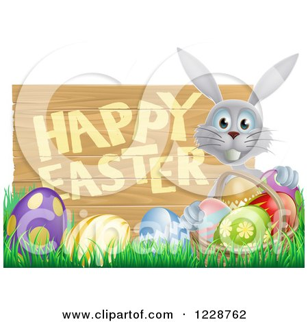 Clipart of a Gray Bunny with a Basket and Eggs in Grass, by a Happy Easter Sign - Royalty Free Vector Illustration by AtStockIllustration