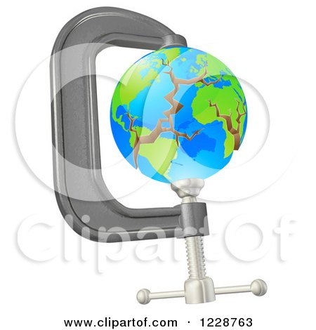 Clipart of a 3d Earth Cracking in a Tight Clamp - Royalty Free Vector Illustration by AtStockIllustration