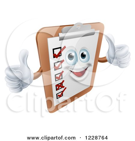 Clipart of a Happy Survey Clipboard Holding Two Thumbs up - Royalty Free Vector Illustration by AtStockIllustration