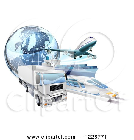 Clipart Of A 3d Earth Globe And Cargo Logistics Modes Train Plane Big Rig And Ship Royalty Free Vector Illustration