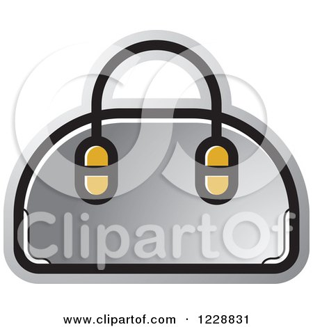 Clipart of a Silver Purse Icon - Royalty Free Vector Illustration by Lal Perera