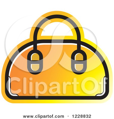 Clipart of a Yellow and Orange Purse Icon - Royalty Free Vector Illustration by Lal Perera