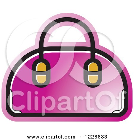 Clipart of a Pink Purse Icon - Royalty Free Vector Illustration by Lal Perera