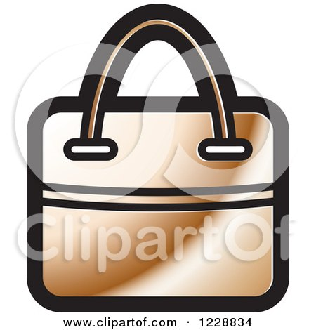 Clipart of a Bronze Hand Bag Icon - Royalty Free Vector Illustration by Lal Perera