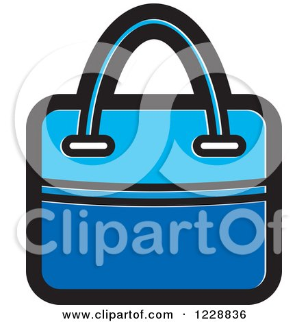 Clipart of a Blue Hand Bag Icon - Royalty Free Vector Illustration by Lal Perera