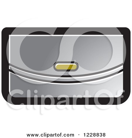 Clipart of a Silver Clutch Purse Icon - Royalty Free Vector Illustration by Lal Perera