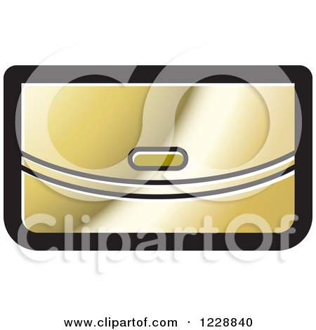 Clipart of a Gold Clutch Purse Icon - Royalty Free Vector Illustration by Lal Perera