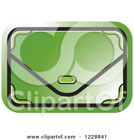 Clipart of a Green Clutch Hand Bag Purse Icon - Royalty Free Vector Illustration by Lal Perera