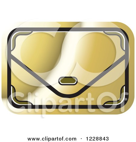 Clipart of a Gold Clutch Hand Bag Purse Icon - Royalty Free Vector Illustration by Lal Perera