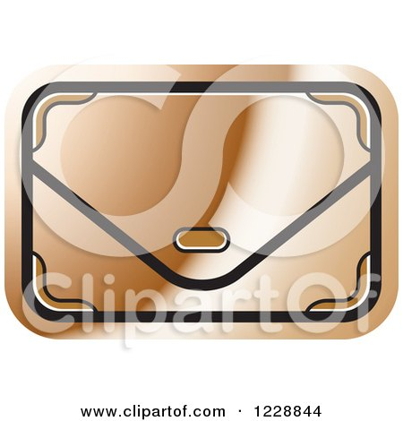 Clipart of a Bronze Clutch Hand Bag Purse Icon - Royalty Free Vector Illustration by Lal Perera