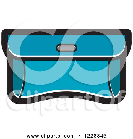 Clipart of a Turquoise Purse Clutch Icon - Royalty Free Vector Illustration by Lal Perera