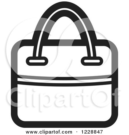 Clipart of a Black and White Hand Bag Icon - Royalty Free Vector Illustration by Lal Perera