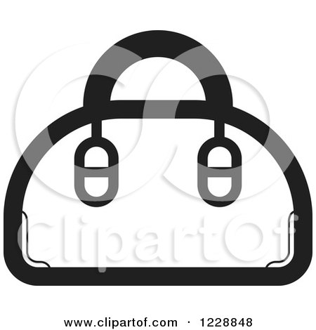 Clipart of a Black and White Purse Icon - Royalty Free Vector Illustration by Lal Perera