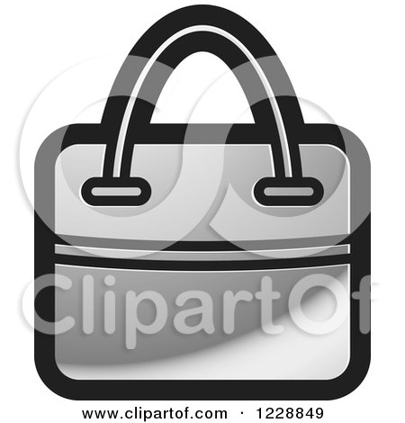 Clipart of a Silver Hand Bag Icon - Royalty Free Vector Illustration by Lal Perera