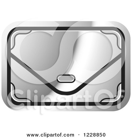 Clipart of a Silver Clutch Hand Bag Purse Icon - Royalty Free Vector Illustration by Lal Perera