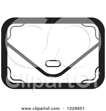 Clipart of a Black and White Clutch Hand Bag Purse Icon - Royalty Free Vector Illustration by Lal Perera