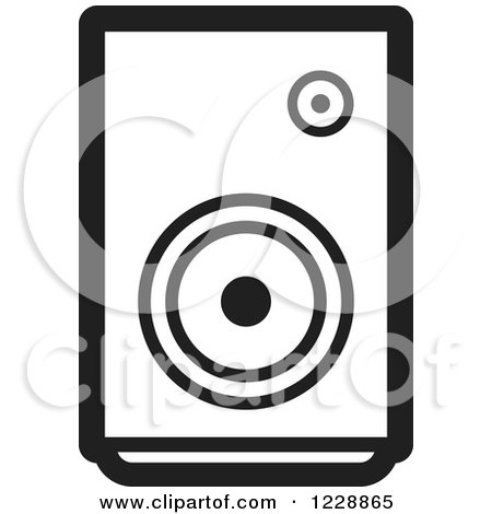 Clipart of a Black and White Music Speaker Icon - Royalty Free Vector Illustration by Lal Perera