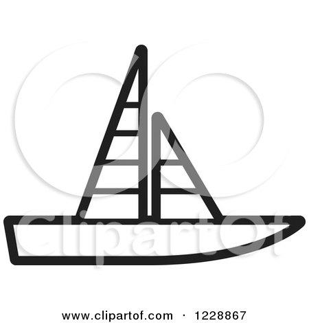 Clipart of a Black and White Sailboat Icon - Royalty Free Vector Illustration by Lal Perera