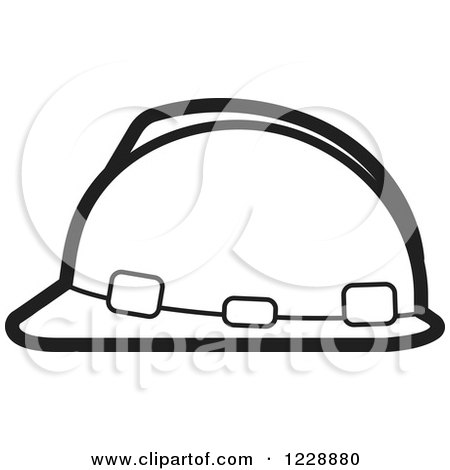 Clipart of a Black and White Hardhat Helmet Icon - Royalty Free Vector Illustration by Lal Perera
