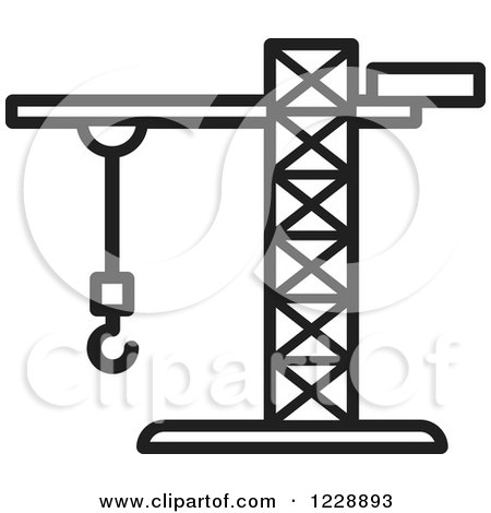 Clipart of a Black and White Construction Crane Icon - Royalty Free Vector Illustration by Lal Perera