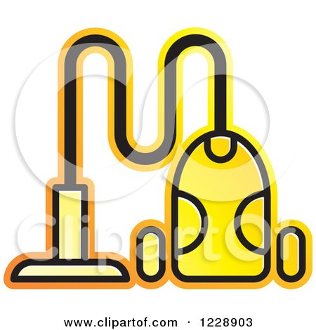 Clipart of a Yellow Canister Vacuum Icon - Royalty Free Vector Illustration by Lal Perera