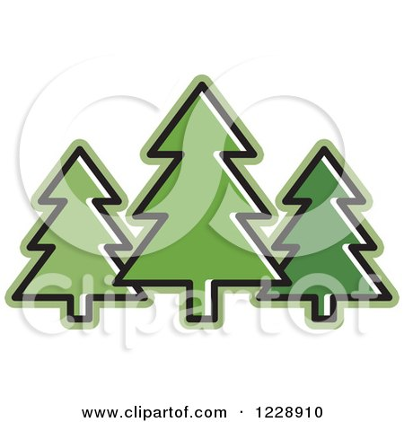 Clipart of a Green Evergreen Trees Icon - Royalty Free Vector Illustration by Lal Perera