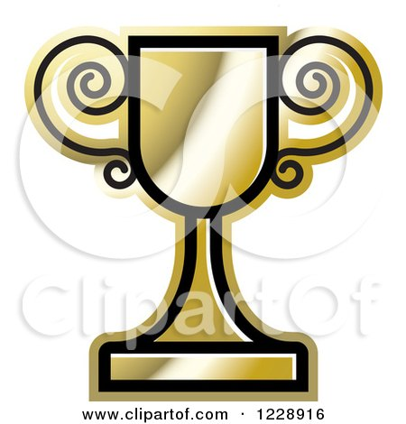Clipart of a Golden Trophy Cup Icon - Royalty Free Vector Illustration by Lal Perera
