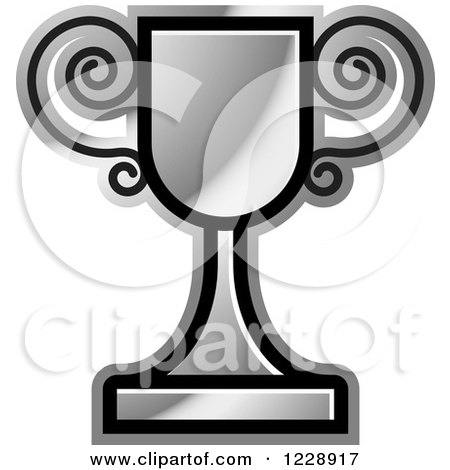 Clipart of a Silver Trophy Cup Icon - Royalty Free Vector Illustration by Lal Perera