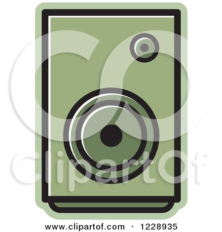 Clipart of a Green Music Speaker Icon - Royalty Free Vector Illustration by Lal Perera