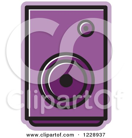 Clipart of a Purple Music Speaker Icon - Royalty Free Vector Illustration by Lal Perera