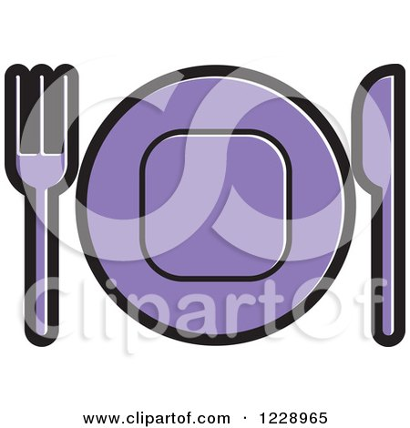 Clipart of a Purple Plate and Silverware Place Setting Icon - Royalty Free Vector Illustration by Lal Perera