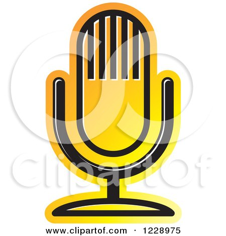 Clipart of a Yellow and Orange Desk Microphone Icon - Royalty Free Vector Illustration by Lal Perera