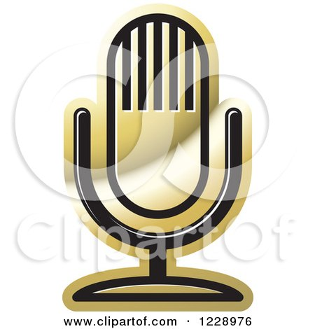 Clipart of a Gold Desk Microphone Icon - Royalty Free Vector Illustration by Lal Perera