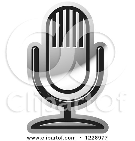 Clipart of a Silver Desk Microphone Icon - Royalty Free Vector Illustration by Lal Perera