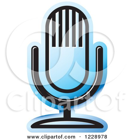 Clipart of a Blue Desk Microphone Icon - Royalty Free Vector Illustration by Lal Perera