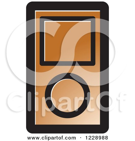 Clipart of a Brown Ipod Mp3 Music Player Icon - Royalty Free Vector Illustration by Lal Perera
