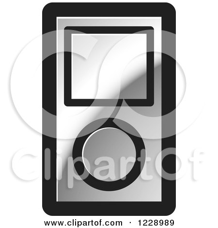 Clipart of a Silver Ipod Mp3 Music Player Icon - Royalty Free Vector Illustration by Lal Perera