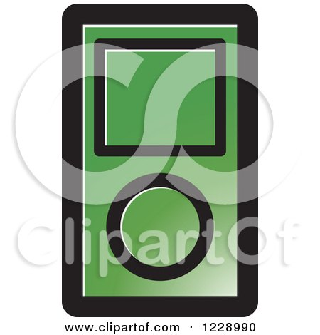 Clipart of a Green Ipod Mp3 Music Player Icon - Royalty Free Vector Illustration by Lal Perera
