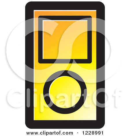 Clipart of a Yellow and Orange Ipod Mp3 Music Player Icon - Royalty Free Vector Illustration by Lal Perera