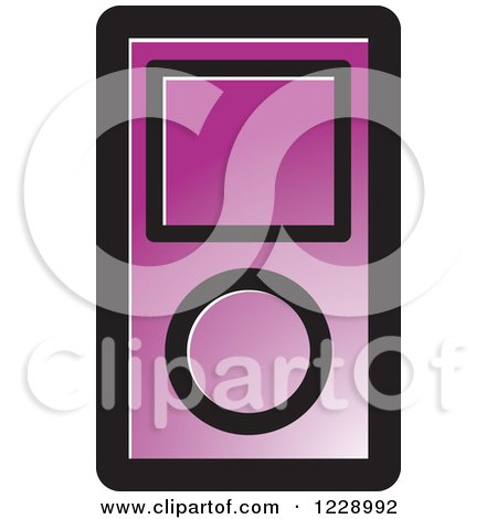 Clipart of a Purple Ipod Mp3 Music Player Icon - Royalty Free Vector Illustration by Lal Perera